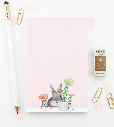 Bunny Arranging Protea Notepad