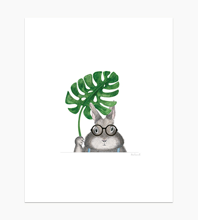 Bunny Holding Monstera